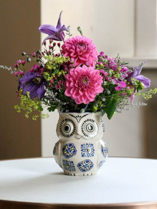 Owl vase and mixed bouquet, delivered in North London, created by Garland