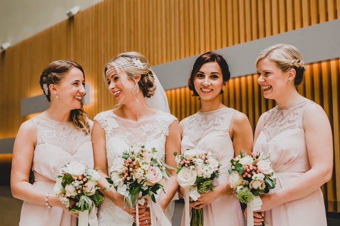 Bride and bridesmaids bouquets, blush and gold wedding theme, created by Garland north London Florist