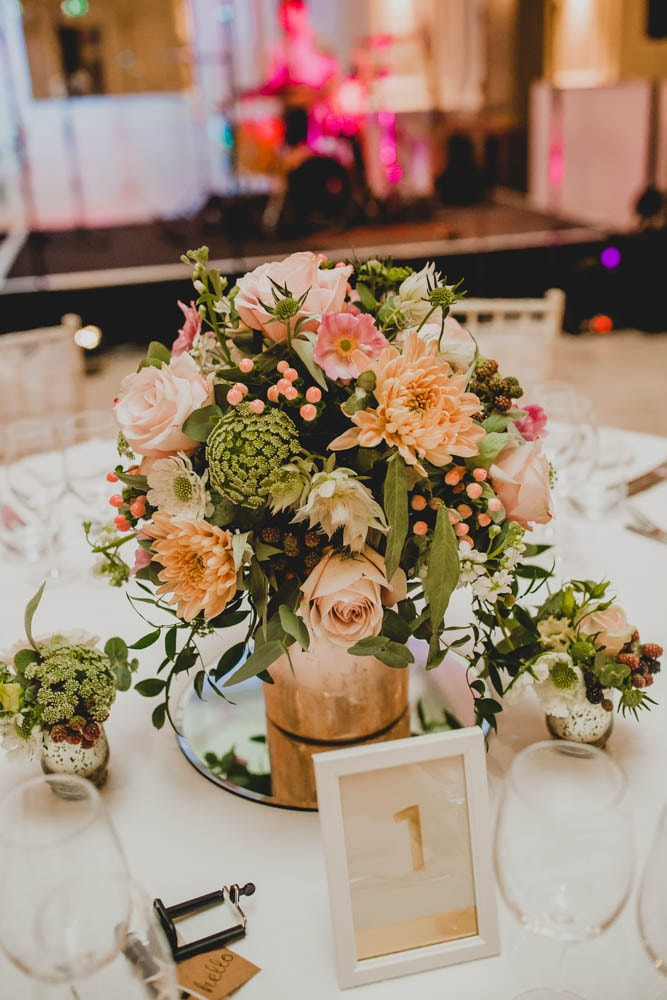 Wedding centrepiece in gold and blush, created by Garland, north ~London florist
