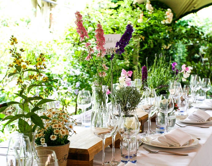 Secret Garden wedding flowers, created by Garland