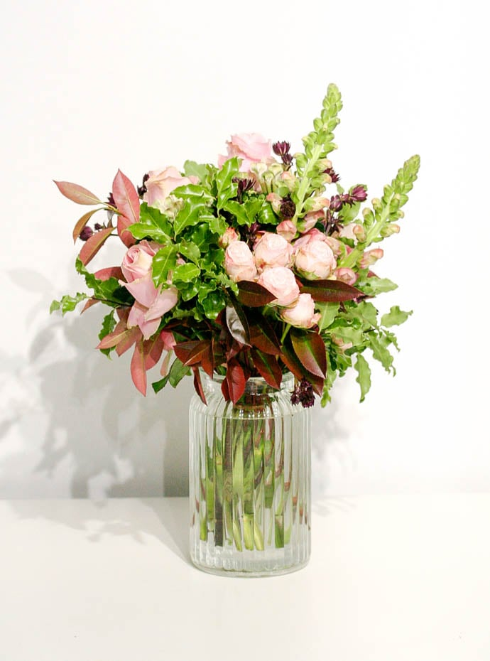 Beautiful bouquets delivered in a vase, created by Garland, a north London florist