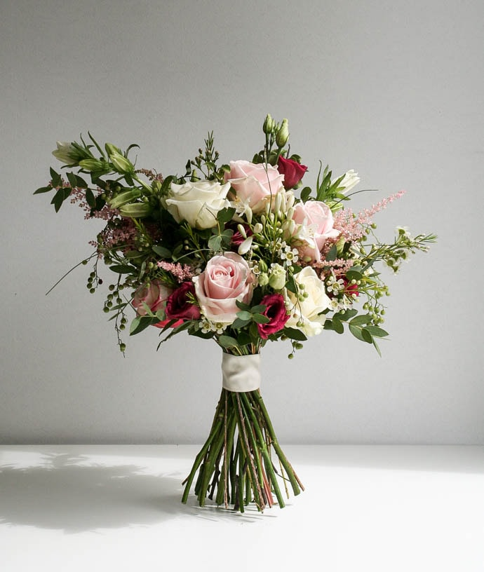 Asymmetric Brides Bouquet in White, Blush and Fuchsia