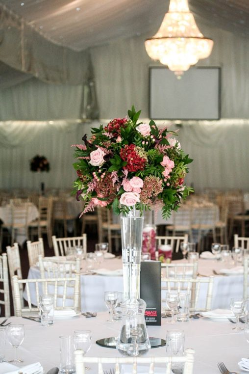 Tall Burgundy and Blush Wedding Flower Centrepiece