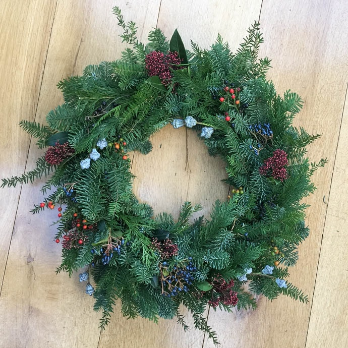 Natural textured Christmas wreath