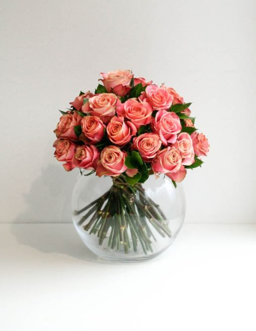 Luxurious bowl of peach roses, mothers day flowers, created by Garland