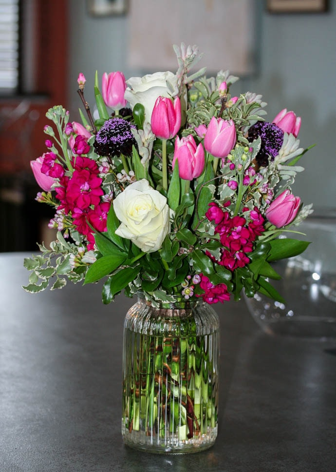 Cerise , pink and blackcurrant bouquet, created by London florist Garland
