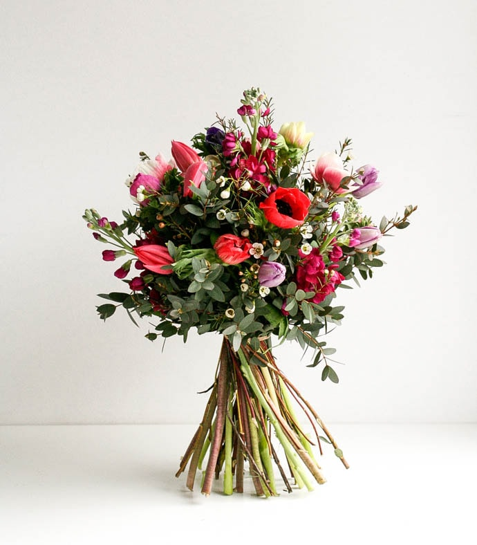Tulips, anemone and stock in mini bouquet created by London Florist Garland